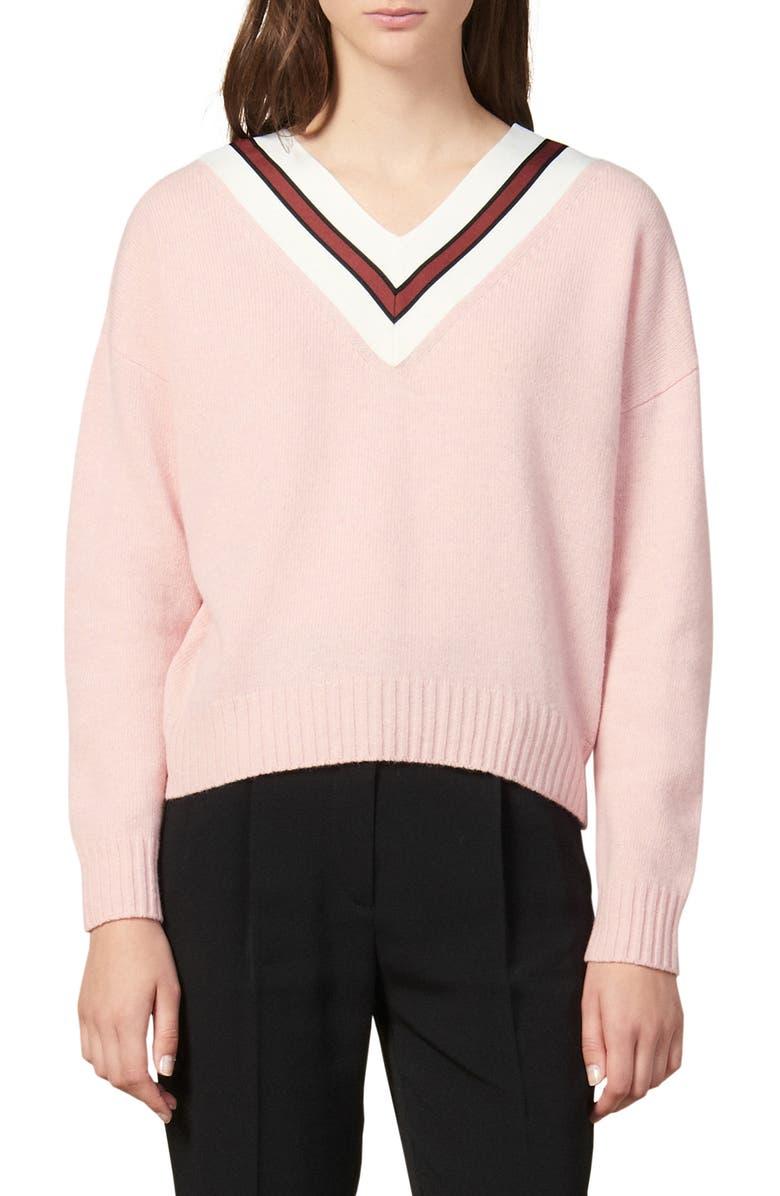 SANDRO Stripes V-Neck Wool Blend Sweater, Main, color, 650