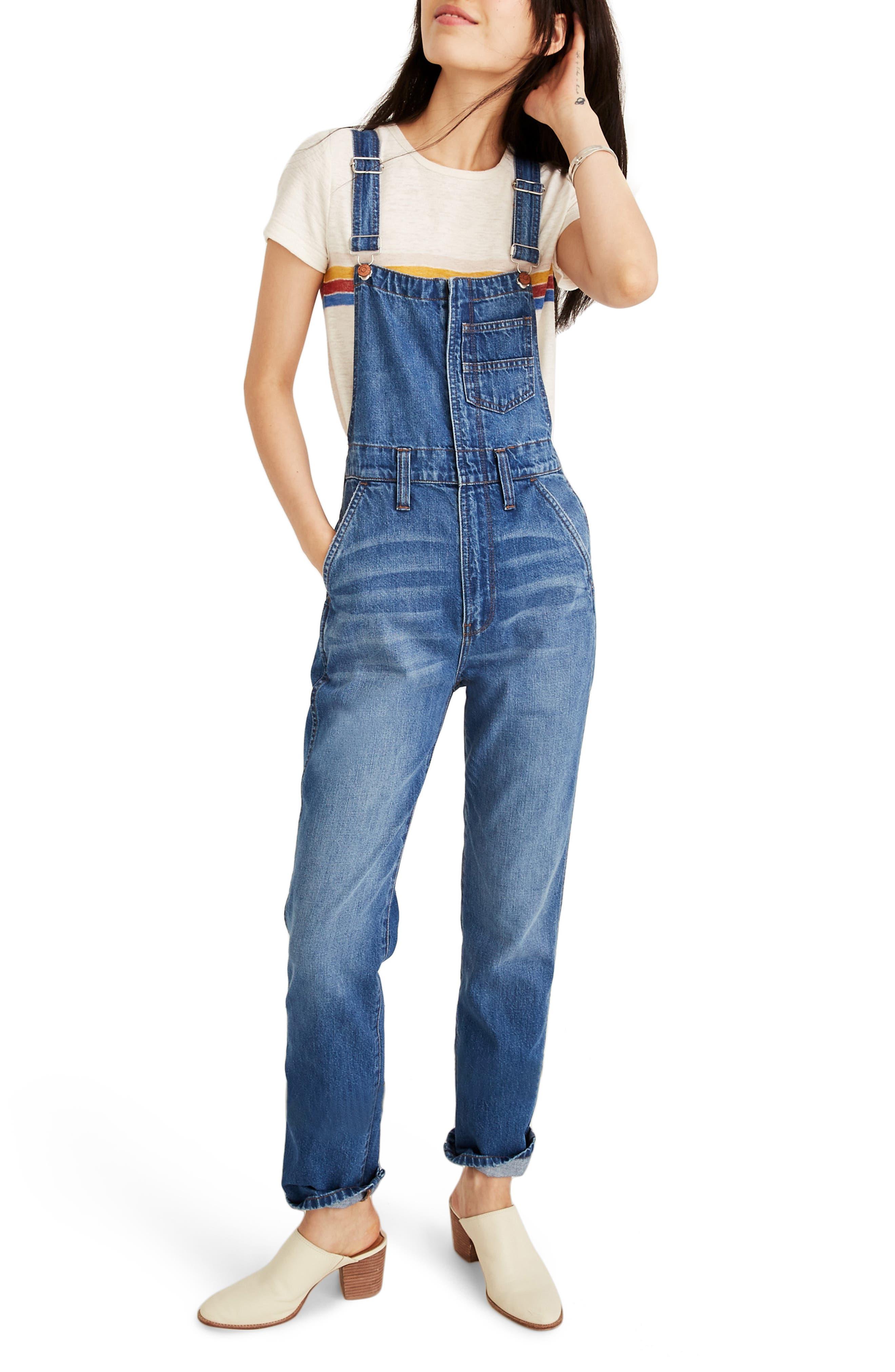 Madewell Straight Leg Zip Overalls, Blue