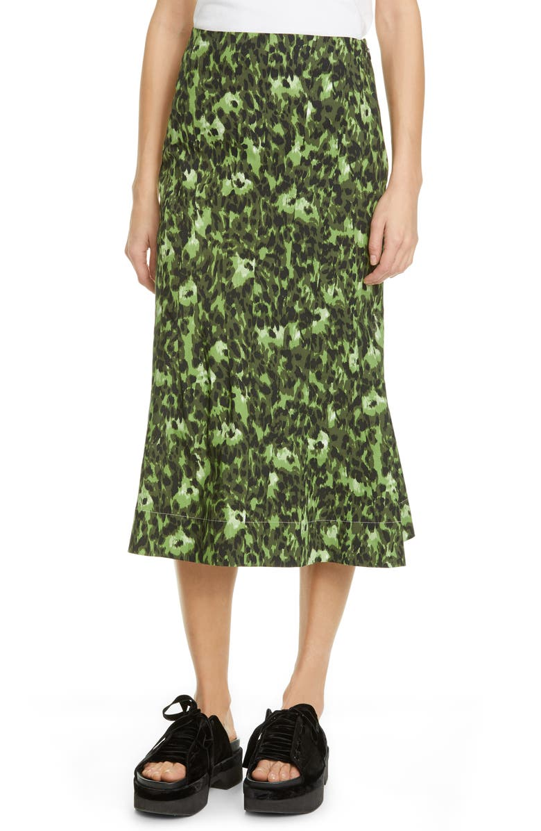 MARNI Cheetah Camo Print Stretch Cotton Tulip Skirt, Main, color, DARK OLIVE