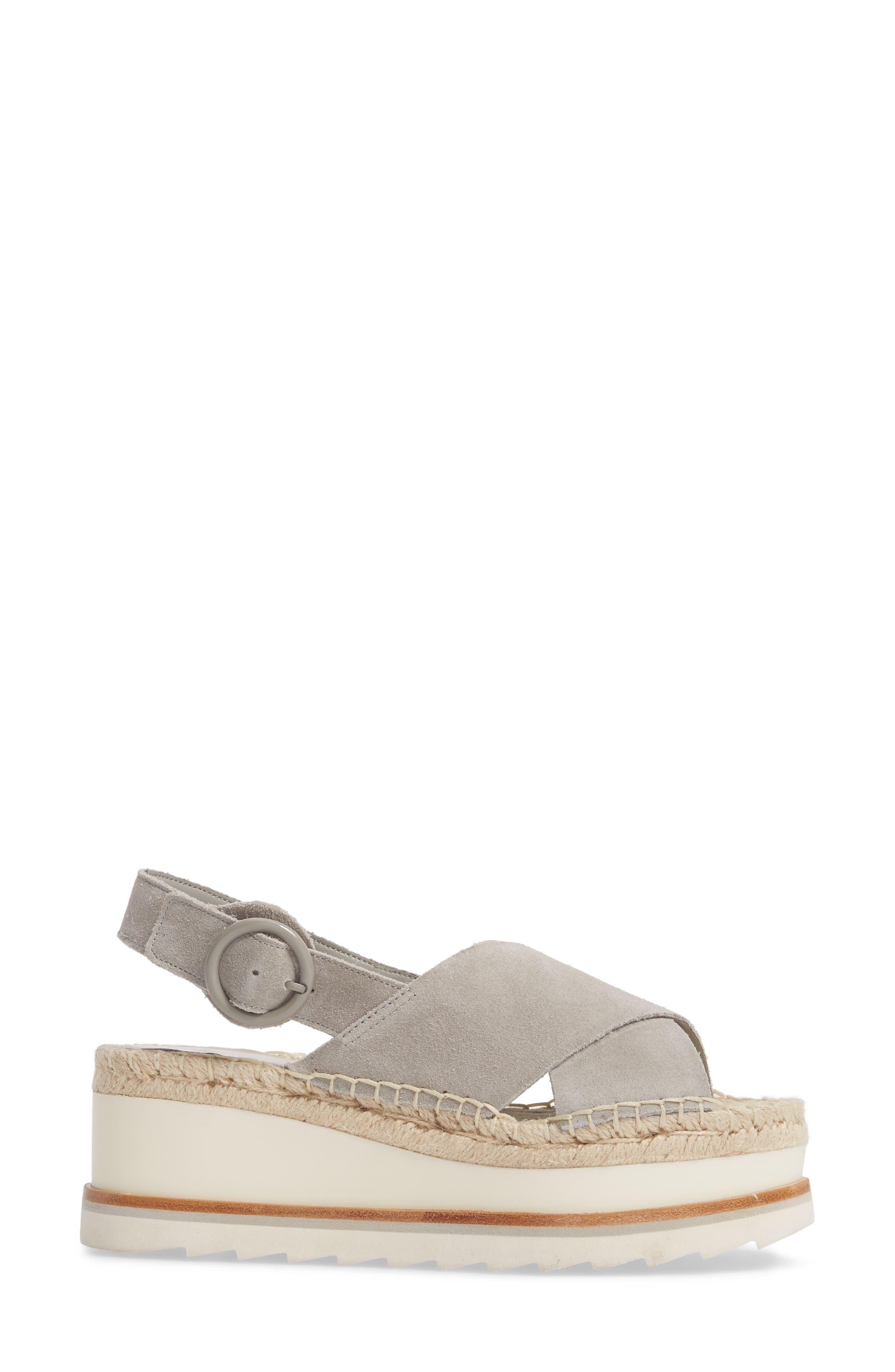 ,                             Glenna Platform Slingback Sandal,                             Alternate thumbnail 3, color,                             GREY SUEDE