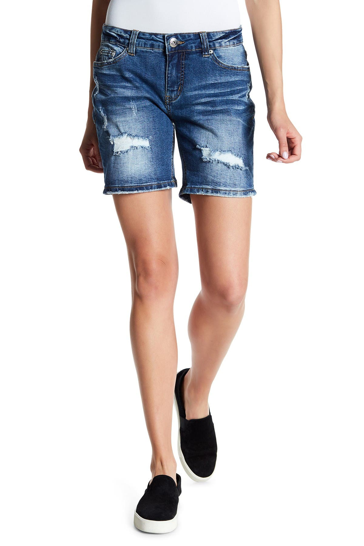Image of SUPPLIES BY UNIONBAY Marni Distressed Rolled Denim Shorts
