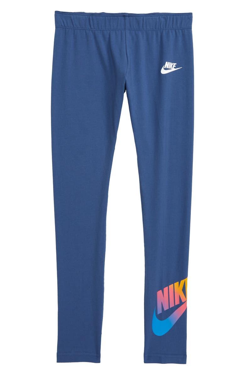 NIKE Sportswear Logo Favorite Leggings, Main, color, MYSTIC NAVY/ WHITE