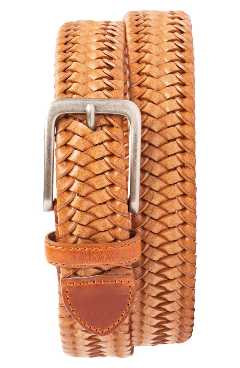 TOMMY BAHAMA Braided Leather Stretch Belt, Main, color, TAN