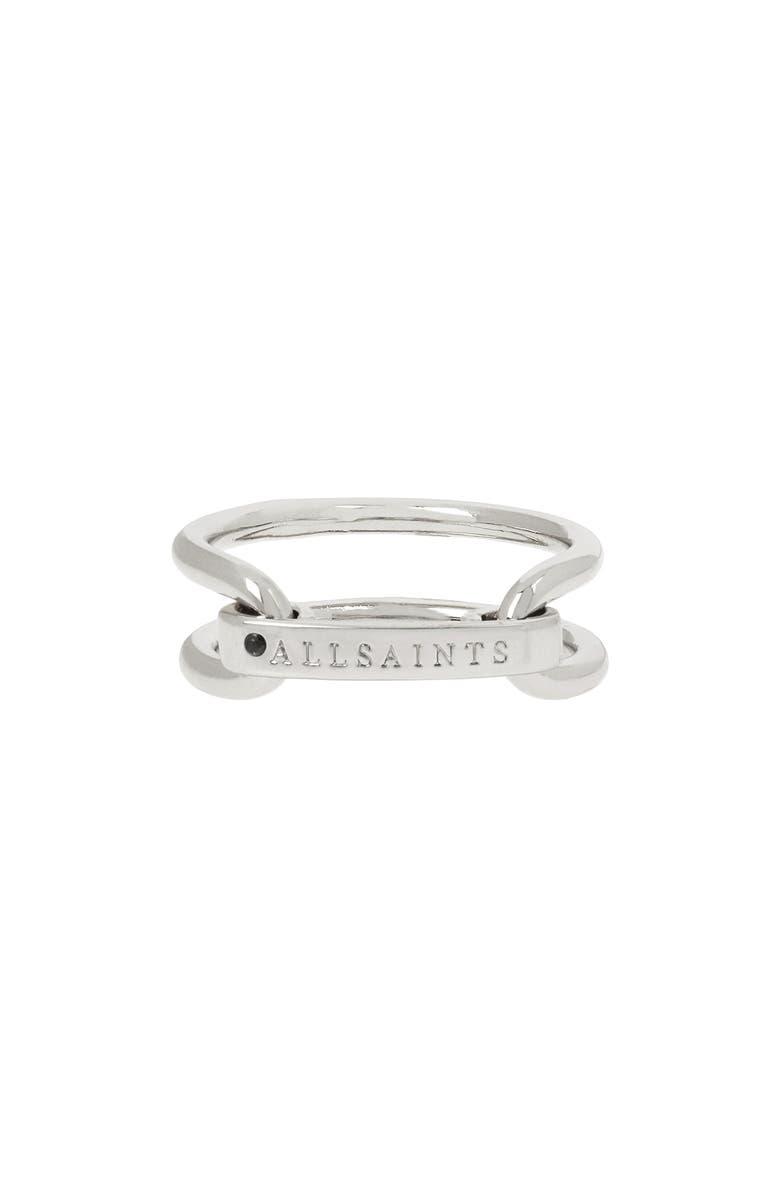 ALLSAINTS Double Logo Ring, Main, color, SILVER