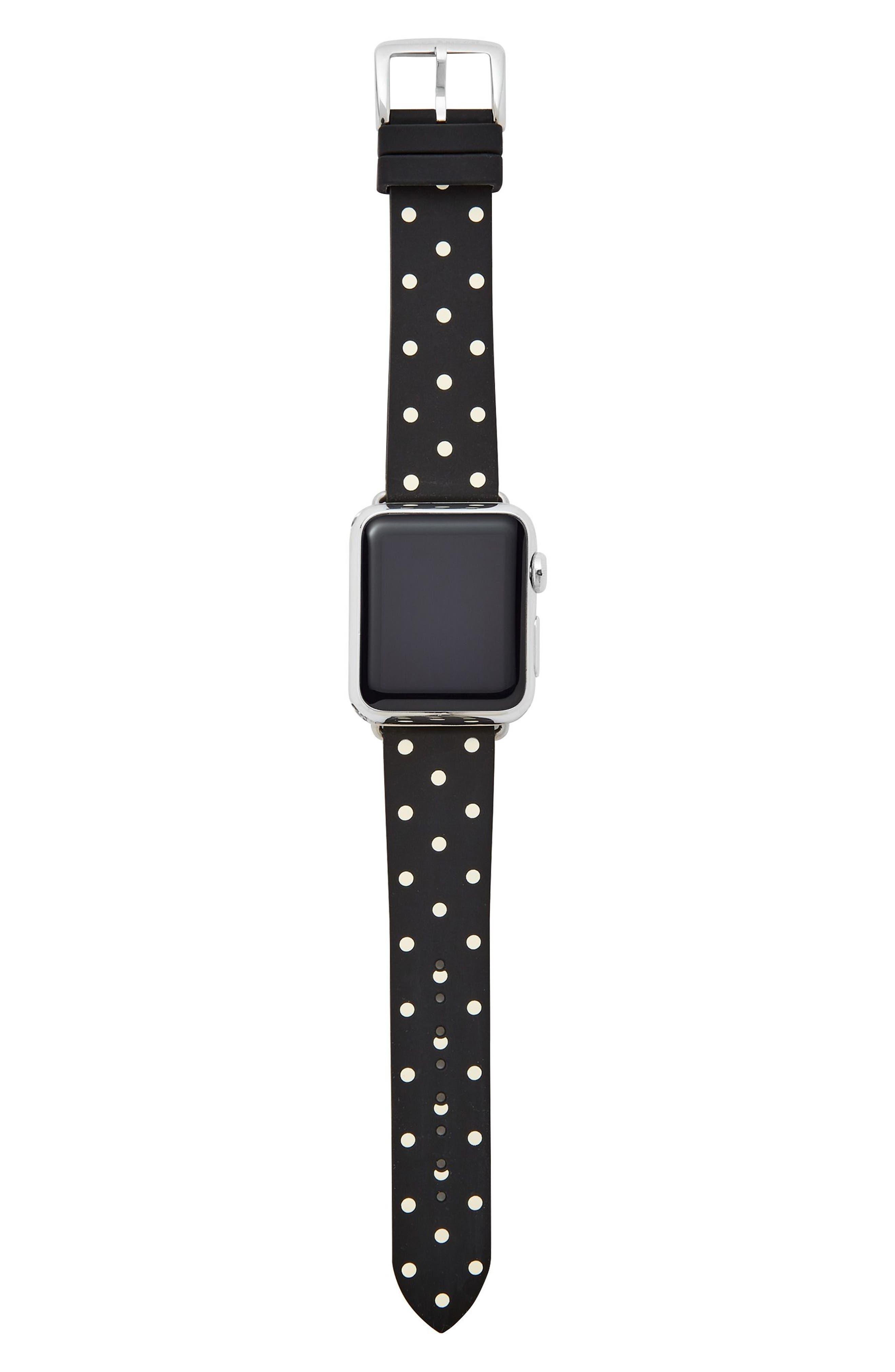 ,                             Apple Watch strap, 25mm,                             Main thumbnail 1, color,                             BLACK POLKA DOT