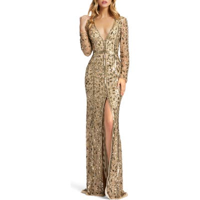 MAC Duggal Embellished Long Sleeve Evening Gown, Metallic