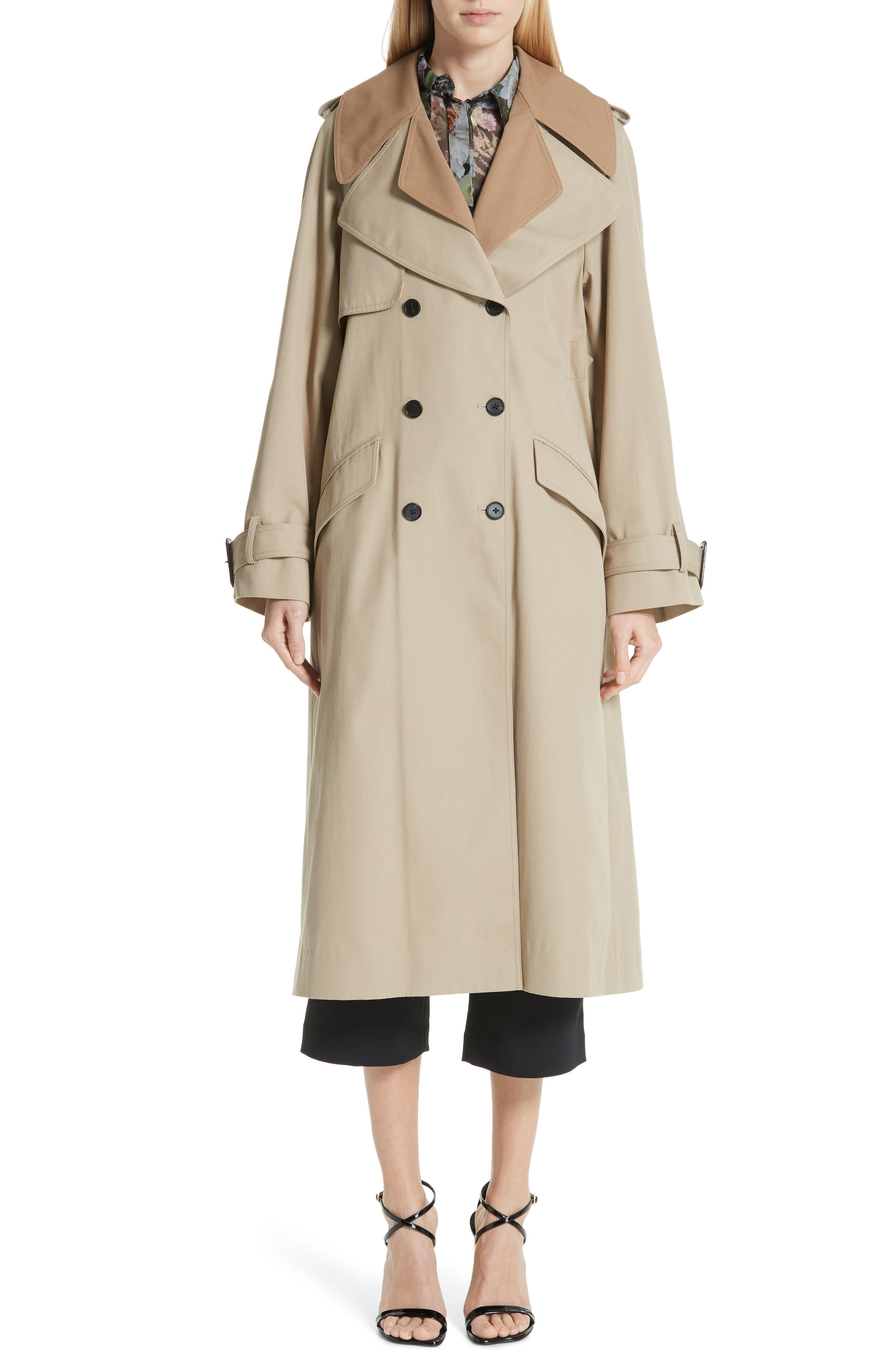 women's adam lippes trench coat with vest & removable fringe, size large - beige