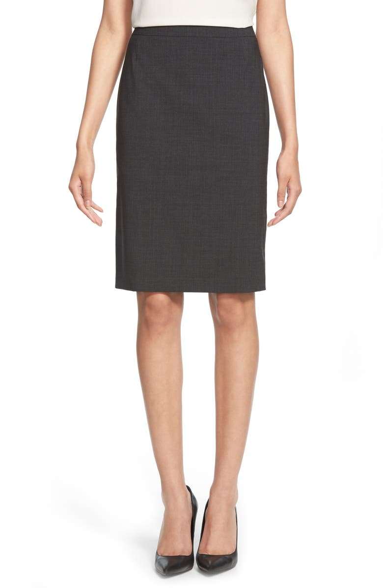 BOSS Vilea Tropical Stretch Wool Pencil Skirt, Main, color, CHARCOAL