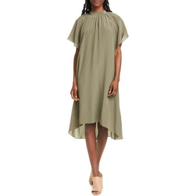 Club Monaco Flutter Sleeve Silk Dress, Green