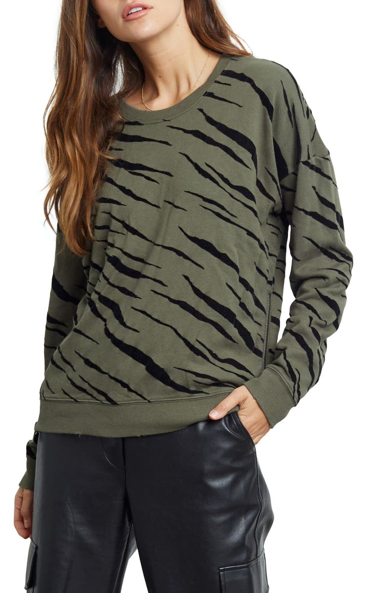 RAILS Marlo Flocked Leopard Top, Main, color, OLIVE FLOCKED TIGER