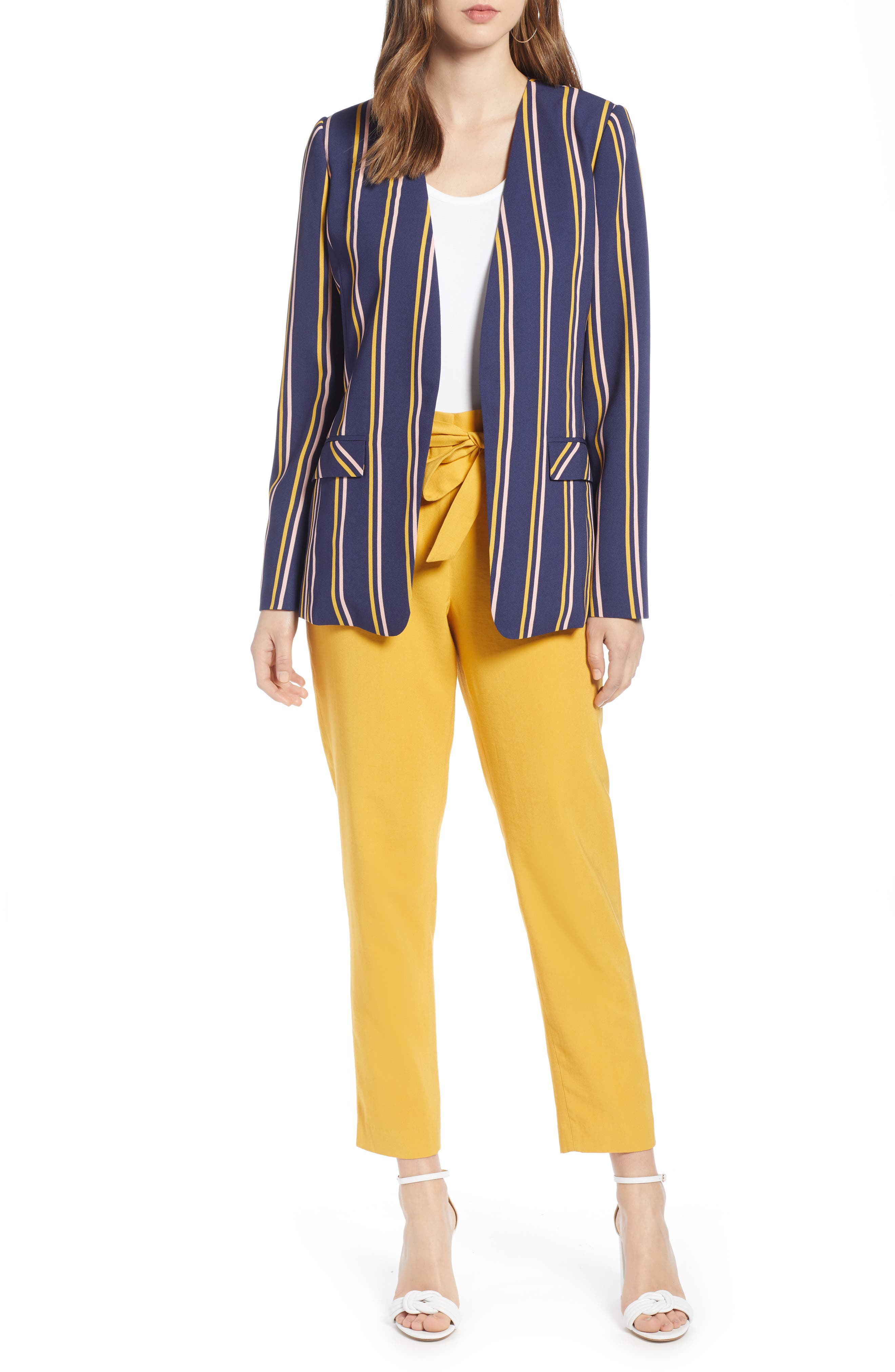 ,                             High Waist Tie Twill Pants,                             Alternate thumbnail 8, color,                             YELLOW MINERAL