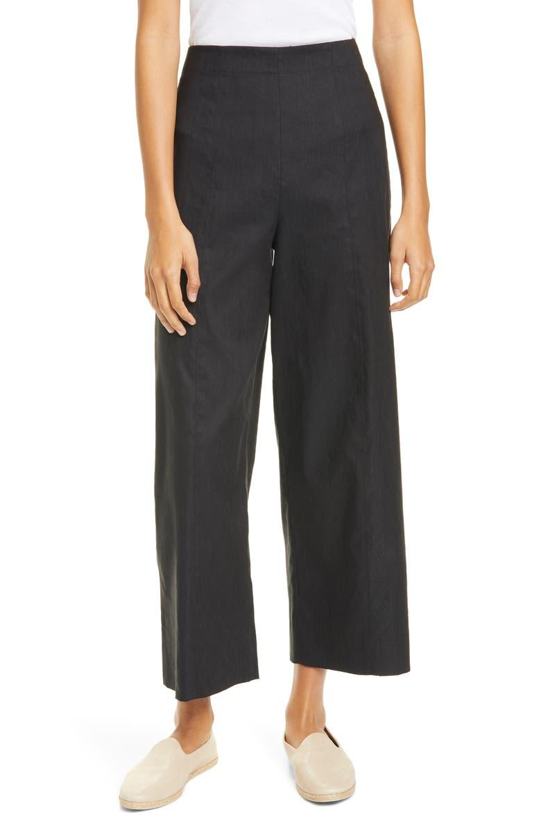 VINCE Linen Blend Crop Wide Leg Pants, Main, color, BLACK