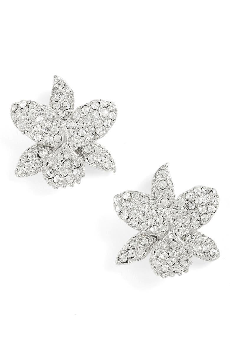 NINA Small Orchid Swarovski Crystal Stud Earrings, Main, color, 040