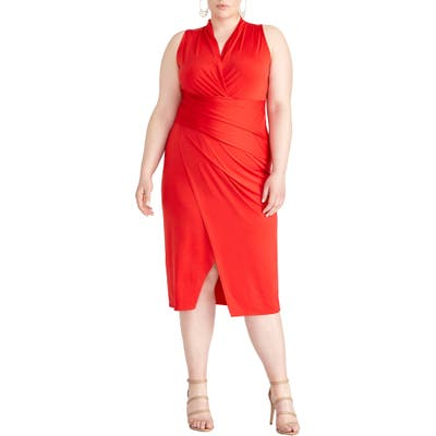 Plus Size Rachel Rachel Roy Bret Gathered Jersey Sheath, Red