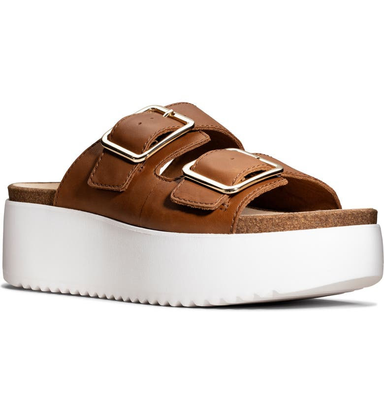 CLARKS<SUP>®</SUP> Botanic Slide Sandal, Main, color, DARK TAN LEATHER