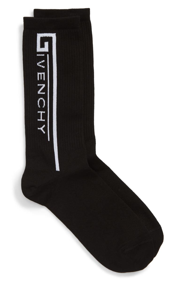 GIVENCHY Logo Socks, Main, color, BLACK/ WHITE