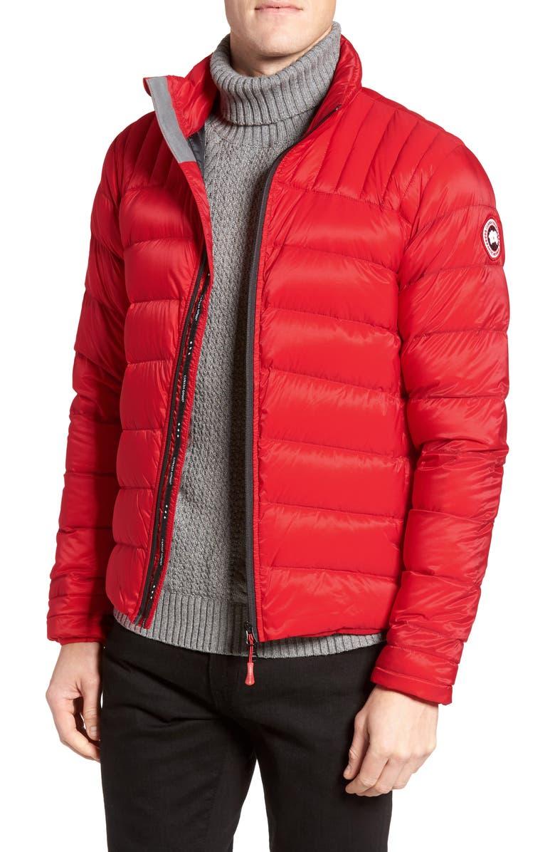 CANADA GOOSE 'Brookvale' Slim Fit Packable Down Jacket, Main, color, RED/ BLACK