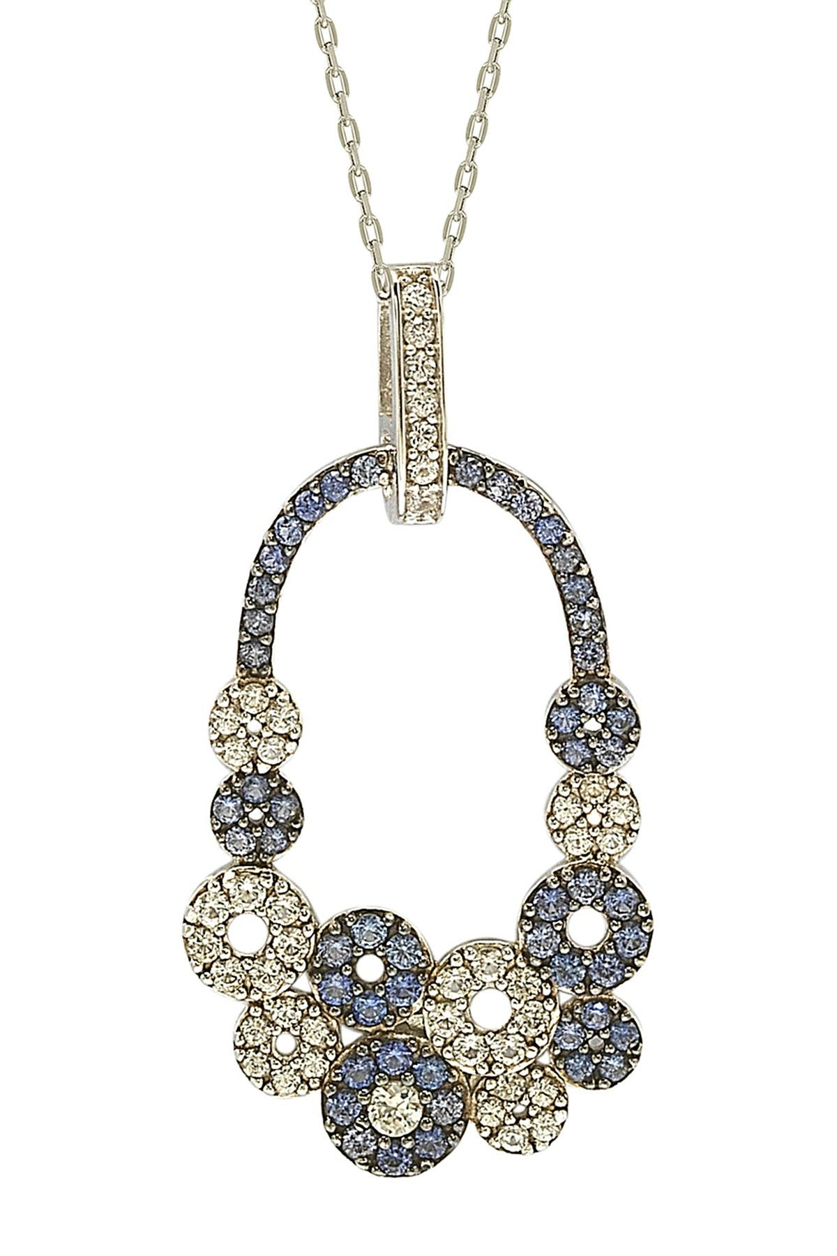 Image of Suzy Levian Sterling Silver Multi-Circle Blue Sapphire, Created White Sapphire, & Brown Diamond Pendant Necklace - 0.02 ctw