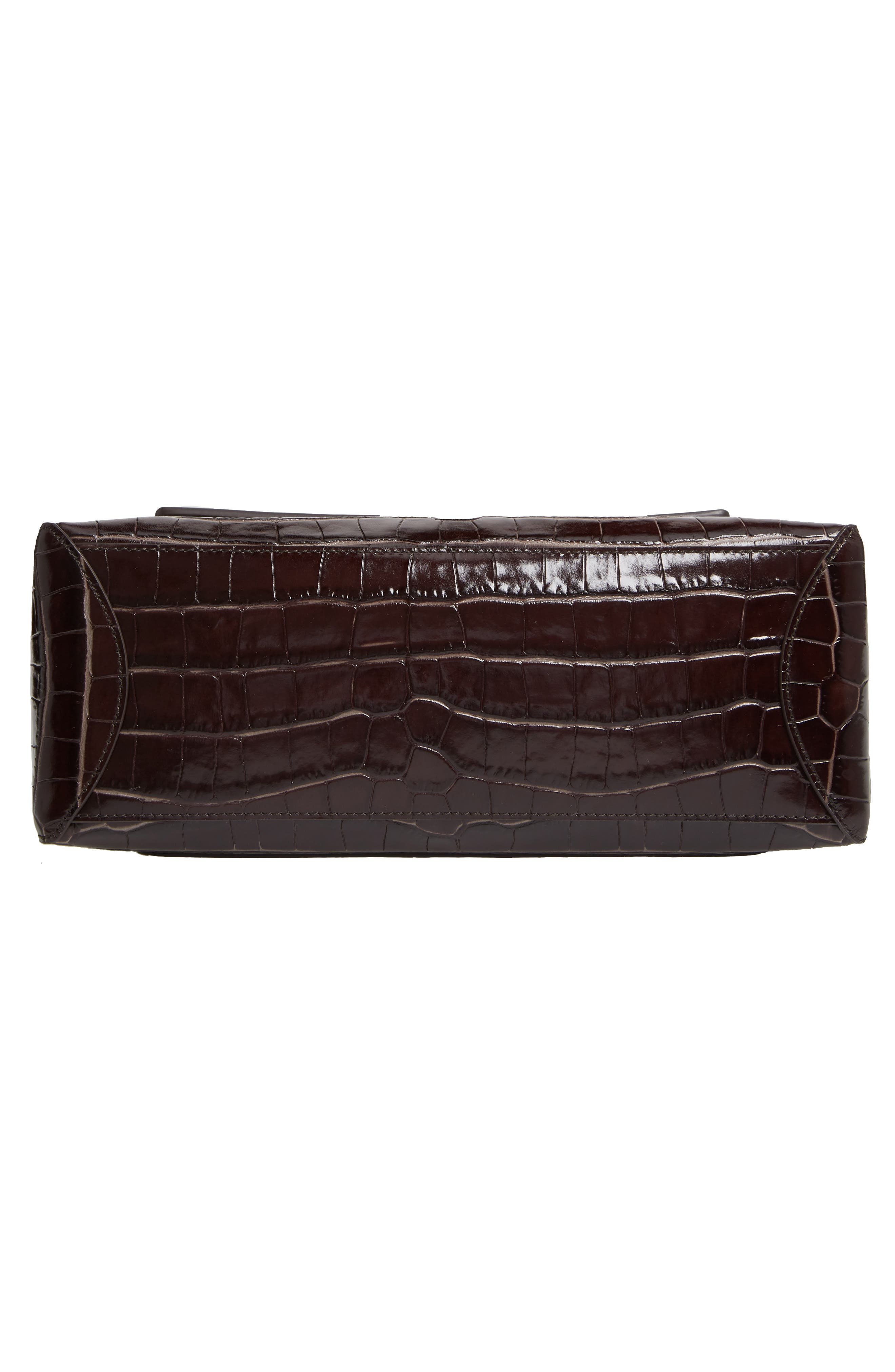 ,                             Medium Faye Day Croc Embossed Leather Shoulder Bag,                             Alternate thumbnail 6, color,                             PROFOUND BROWN