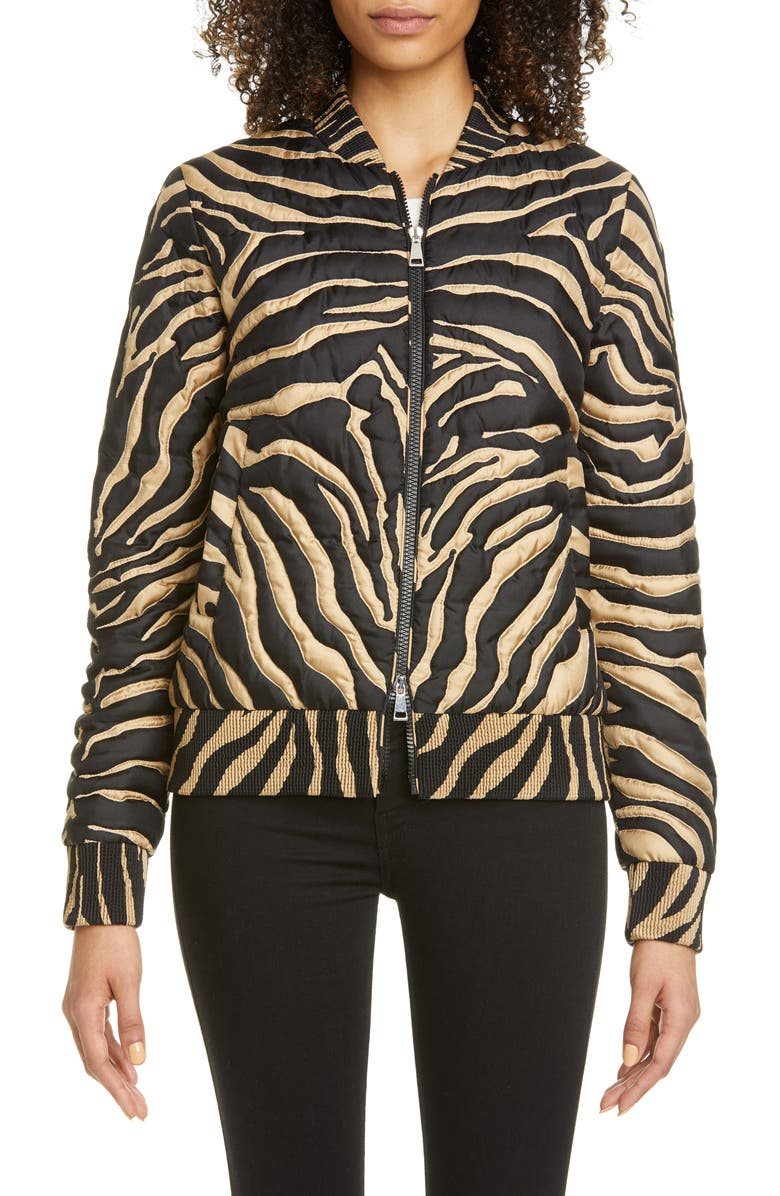 MONCLER Abricot Zebra Stripe Quilted Silk Bomber Jacket, Main, color, PRINT