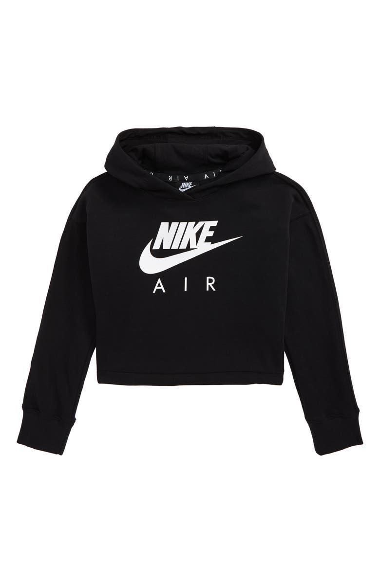 NIKE Sportswear Air Logo Crop Hoodie, Main, color, BLACK/ WHITE/ WHITE