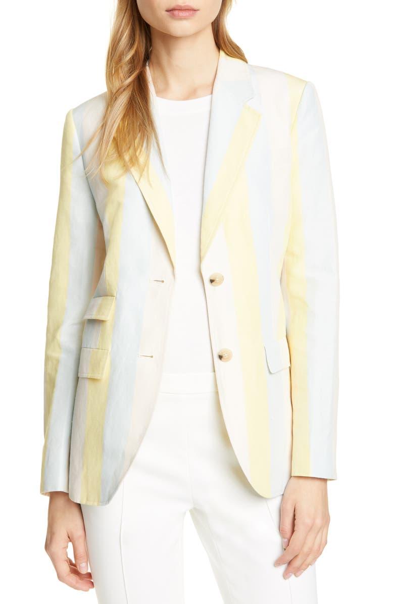 TORY BURCH Stripe Silk & Linen Blazer, Main, color, LINEN SILK SUITING STRIPE