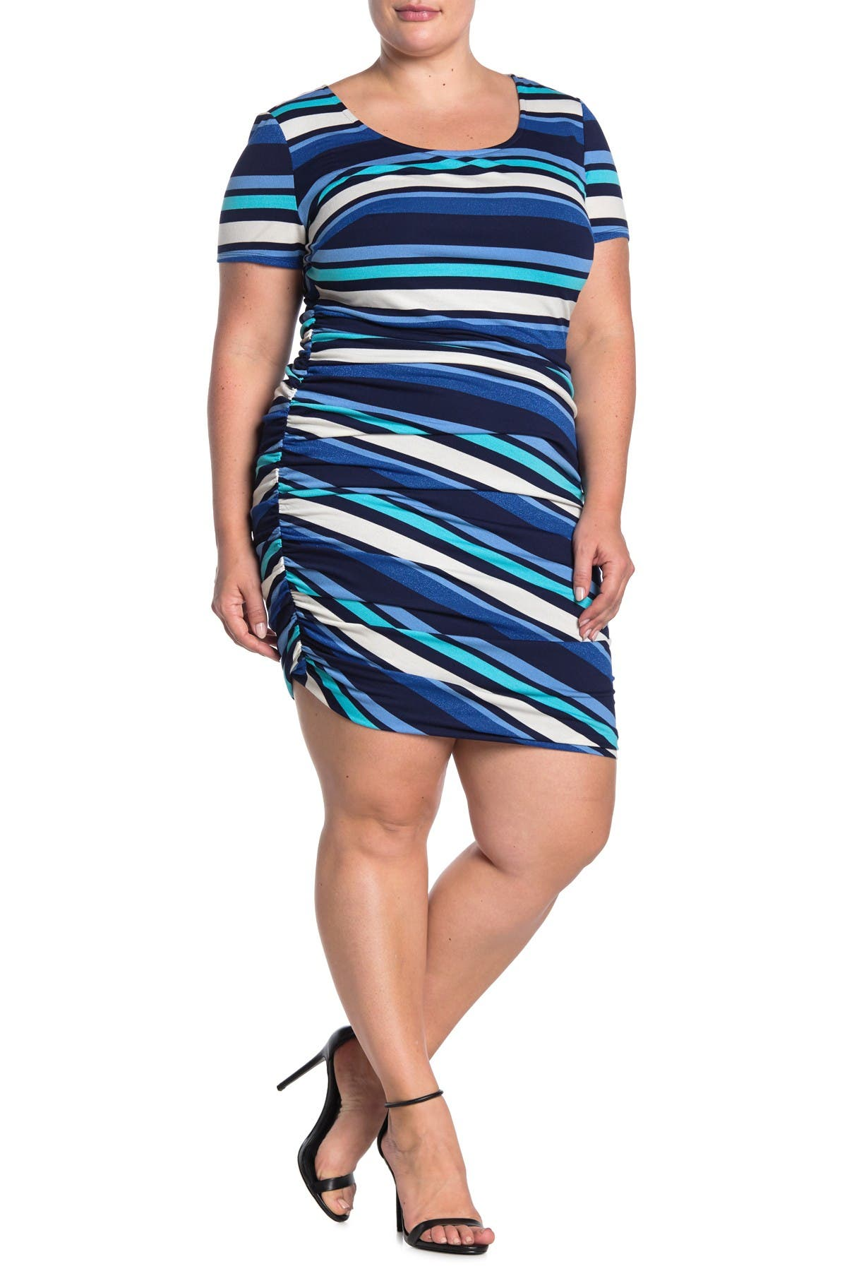 Image of Maree Pour Toi Stripe Side Ruche Dress