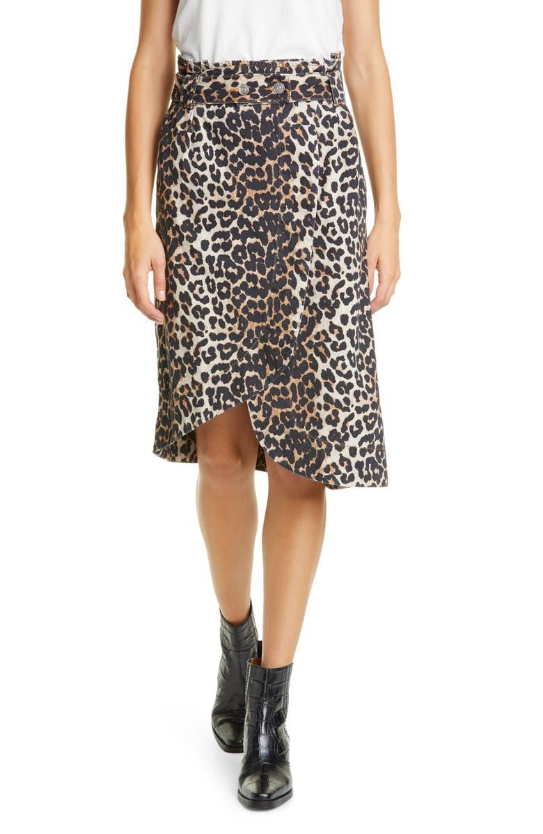 GANNI Leopard Print Asymmetrical Denim Wrap Skirt, Main, color, 200