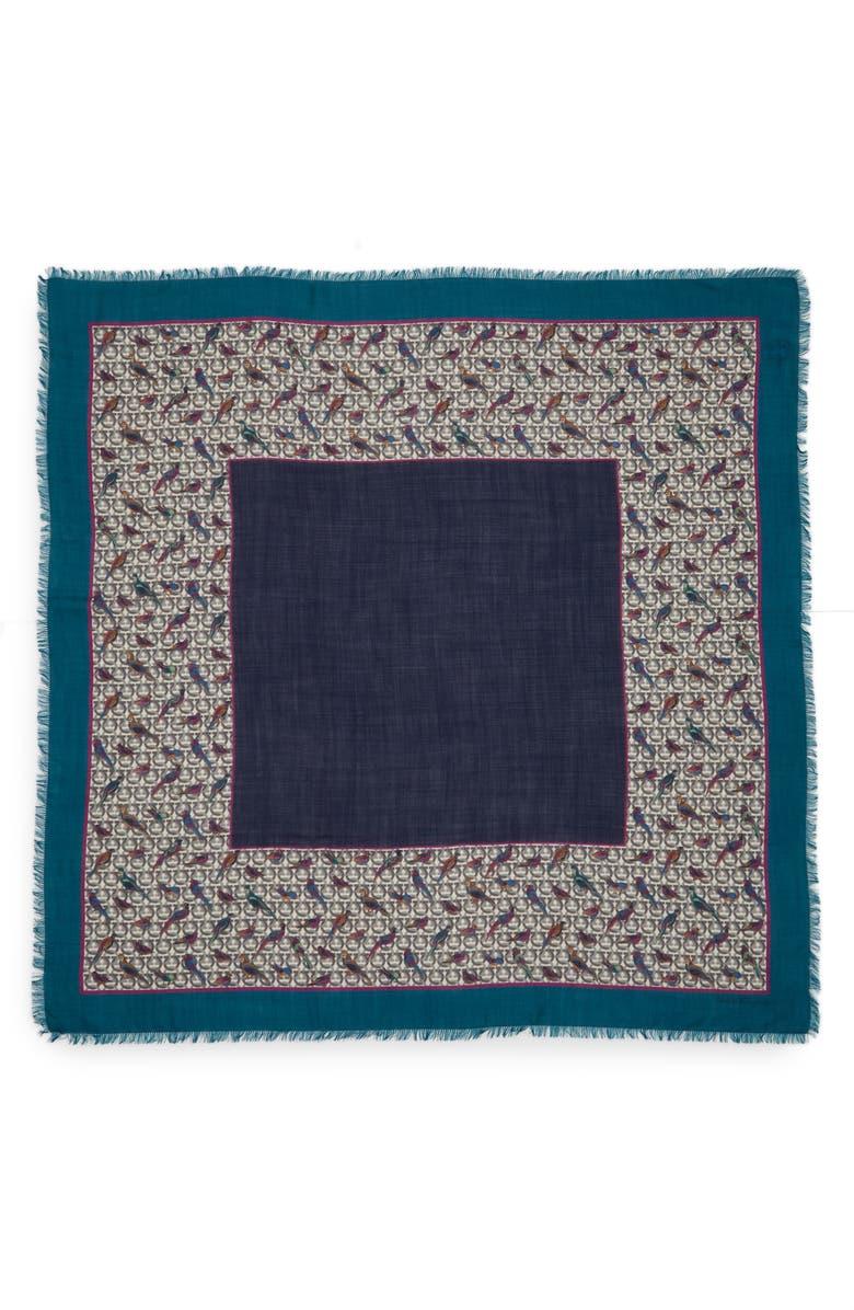 SALVATORE FERRAGAMO Ganci Pheasant Wool Scarf, Main, color, BLU PETROLIO
