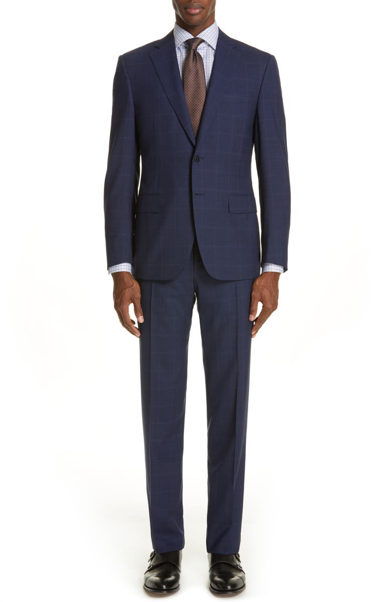CANALI Siena Soft Classic Fit Plaid Wool Suit, Main, color, 410
