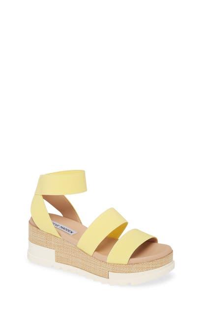 Steve Madden Birkley Strappy Platform Sandal In Yellow