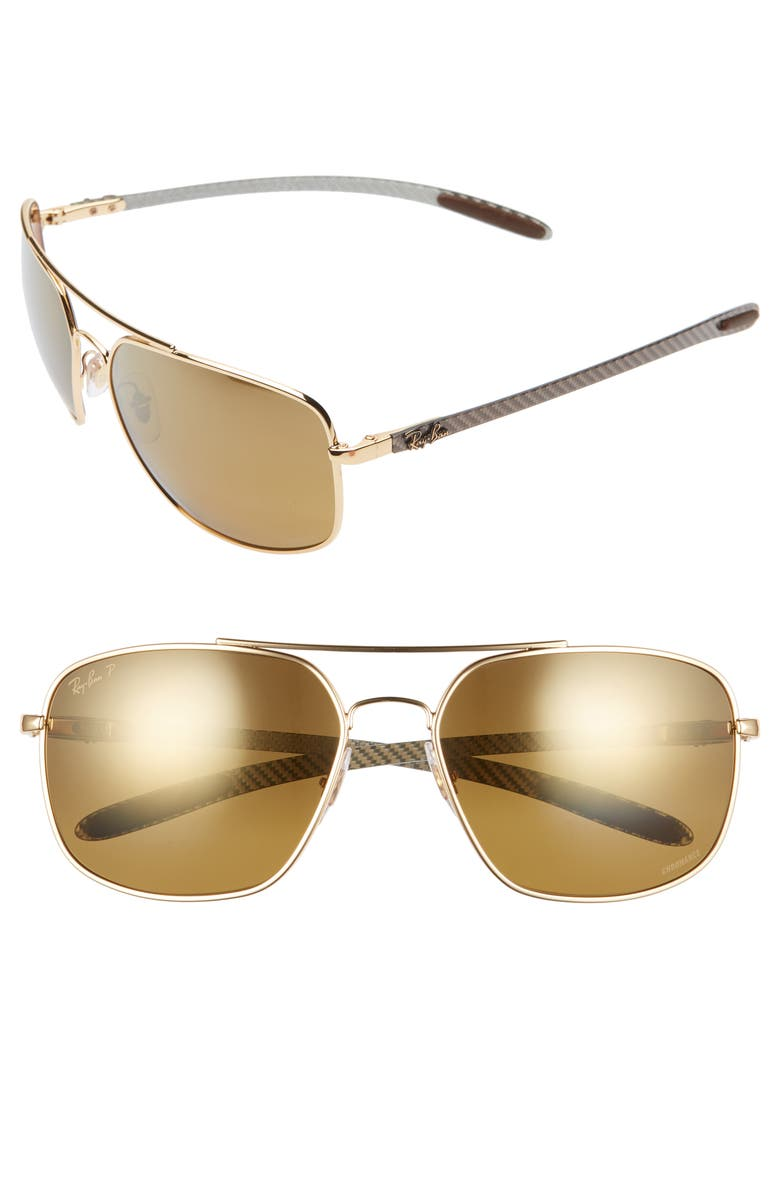 RAY-BAN 62mm Polarized Aviator Sunglasses, Main, color, GOLD GRADIENT MIRROR