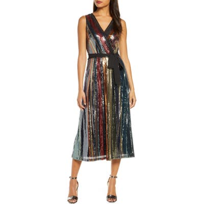 Julia Jordan Multicolored Sequin Midi Dress, Black