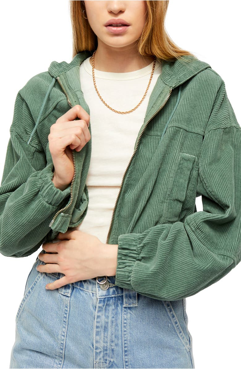 BDG URBAN OUTFITTERS Corduroy Crop Hooded Jacket, Main, color, KHAKI