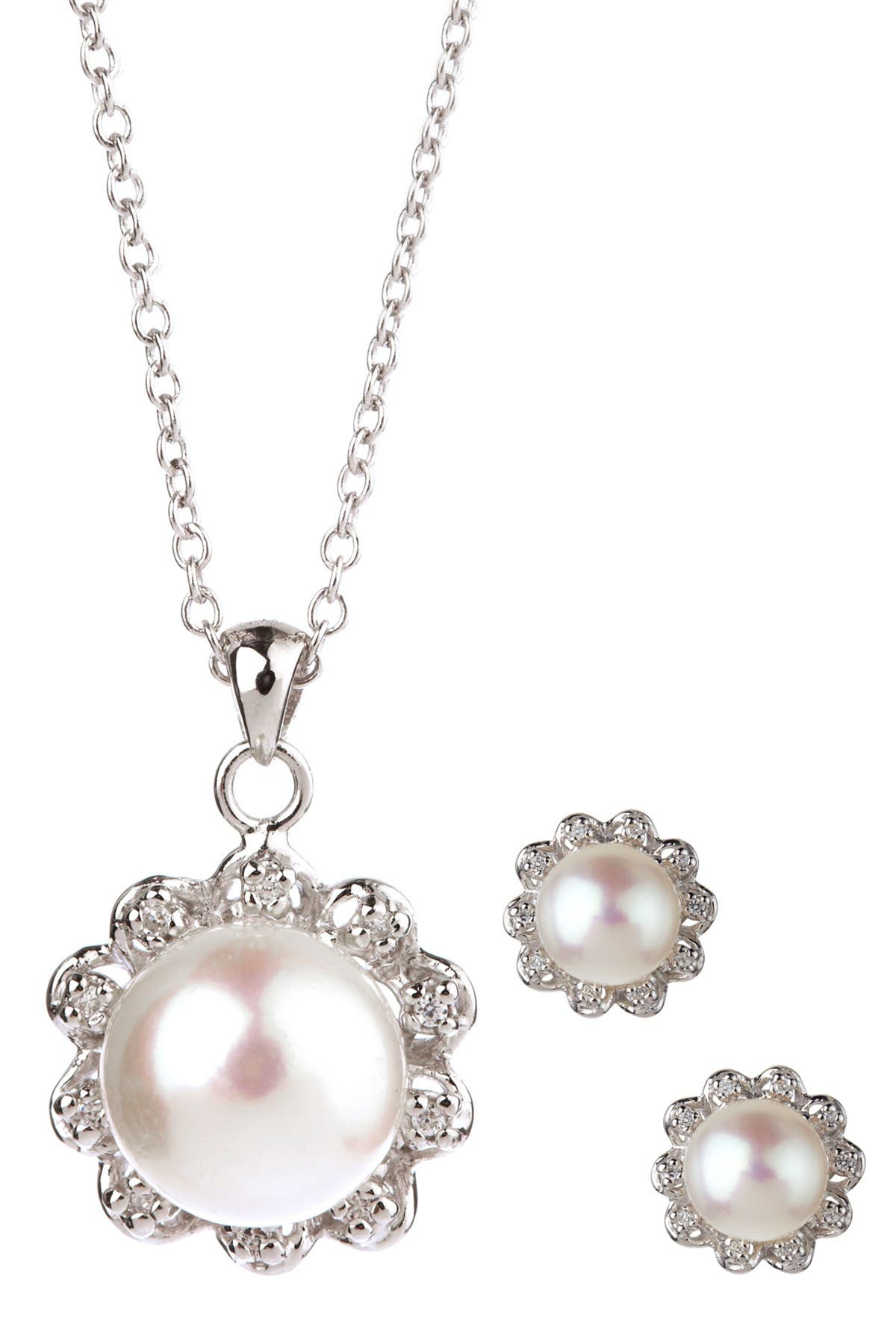 Image of Splendid Pearls 8-9mm White Freshwater Pearl Earrings & Necklace Set