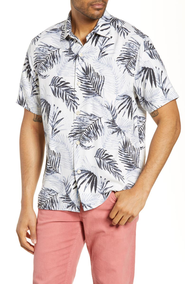 TOMMY BAHAMA Adriatic Fronds Silk Blend Shirt, Main, color, 100