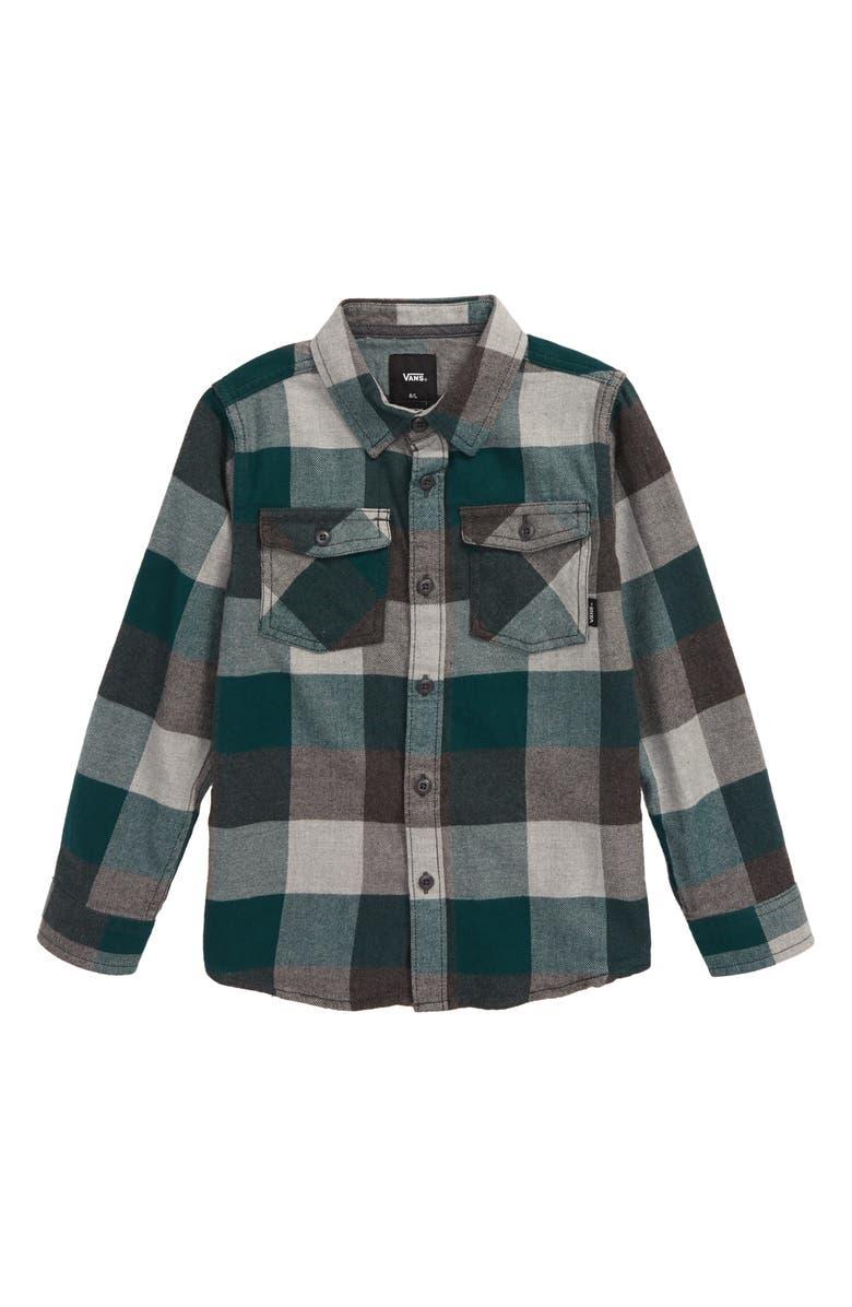 VANS Box Check Flannel Shirt, Main, color, TREKKING GREEN/ GREY HEATHER