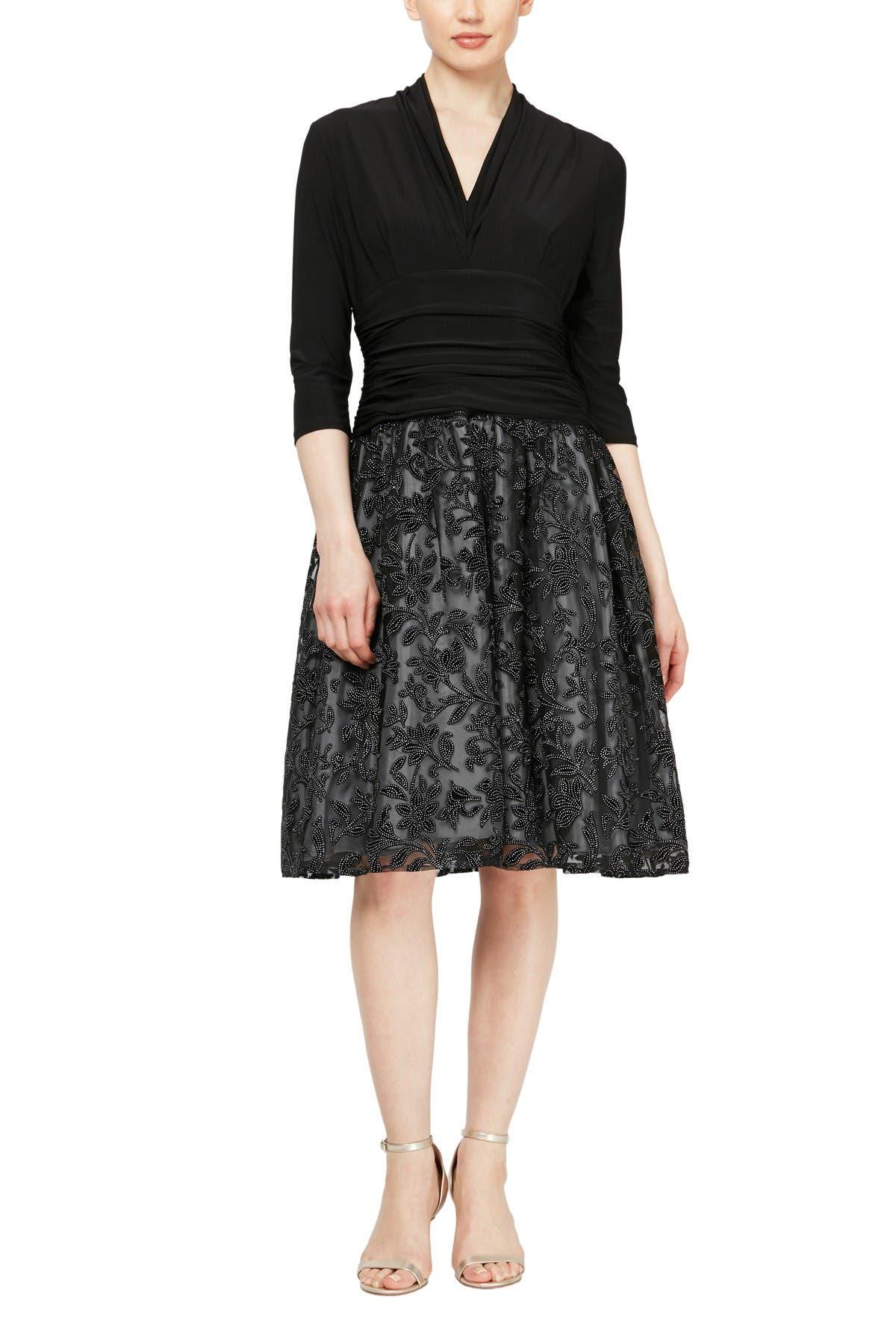 Image of SL Fashions Beaded Flocked Velvet Skirt Dress