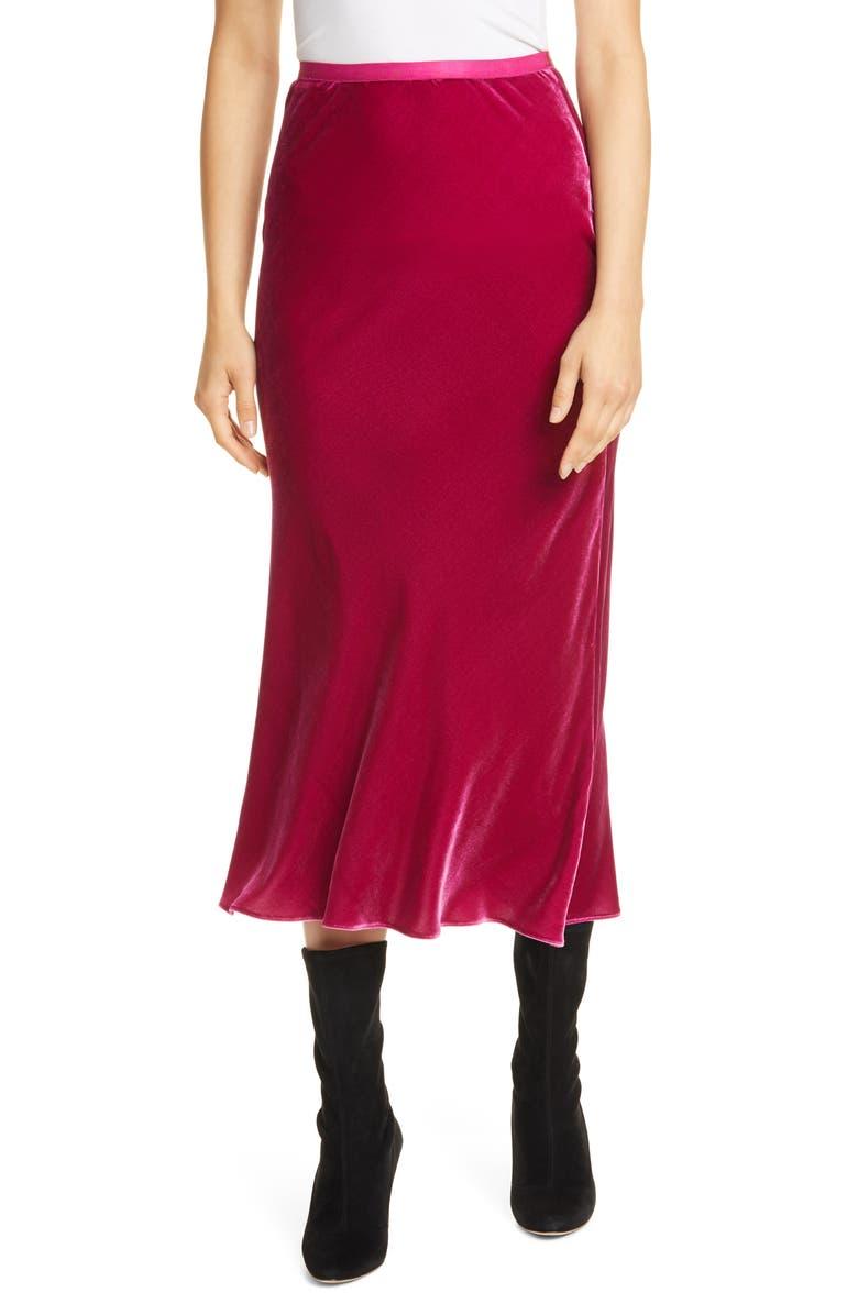 POLO RALPH LAUREN Bias Cut Silk Velvet Skirt, Main, color, ARUBA PINK