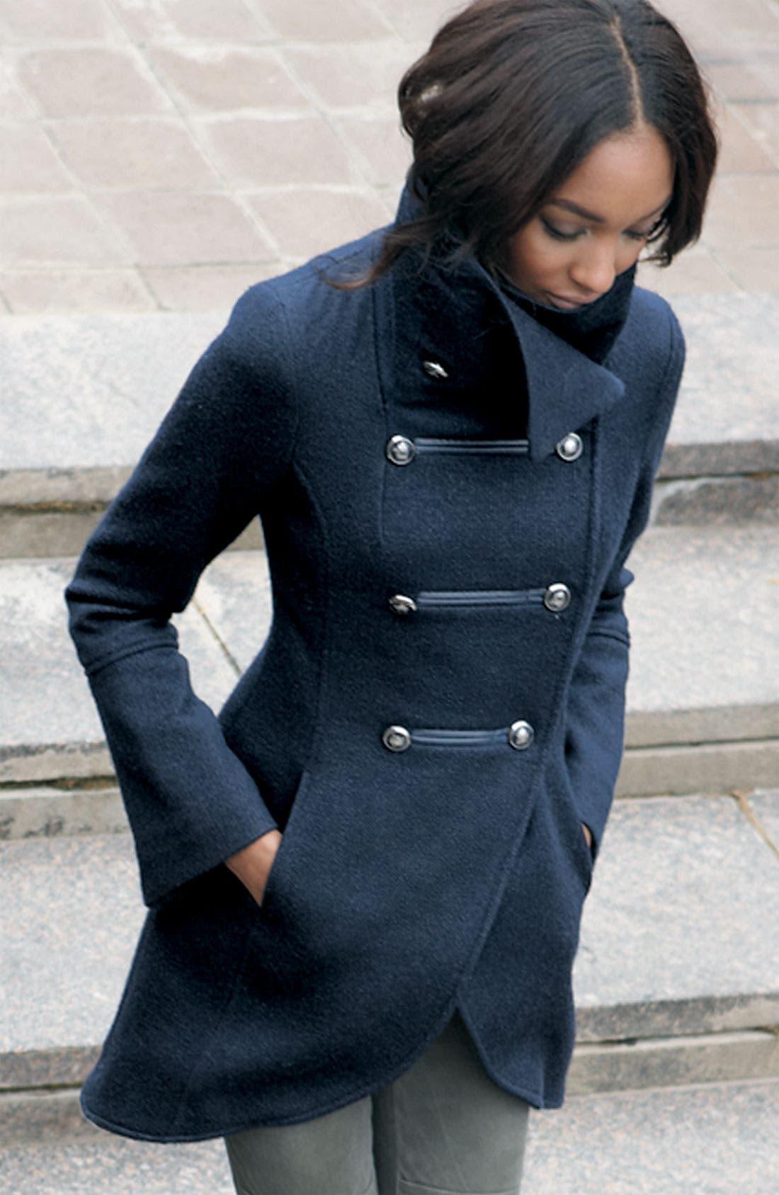 ,                             'Diana' Military Inspired Wool Blend Coat,                             Alternate thumbnail 2, color,                             001