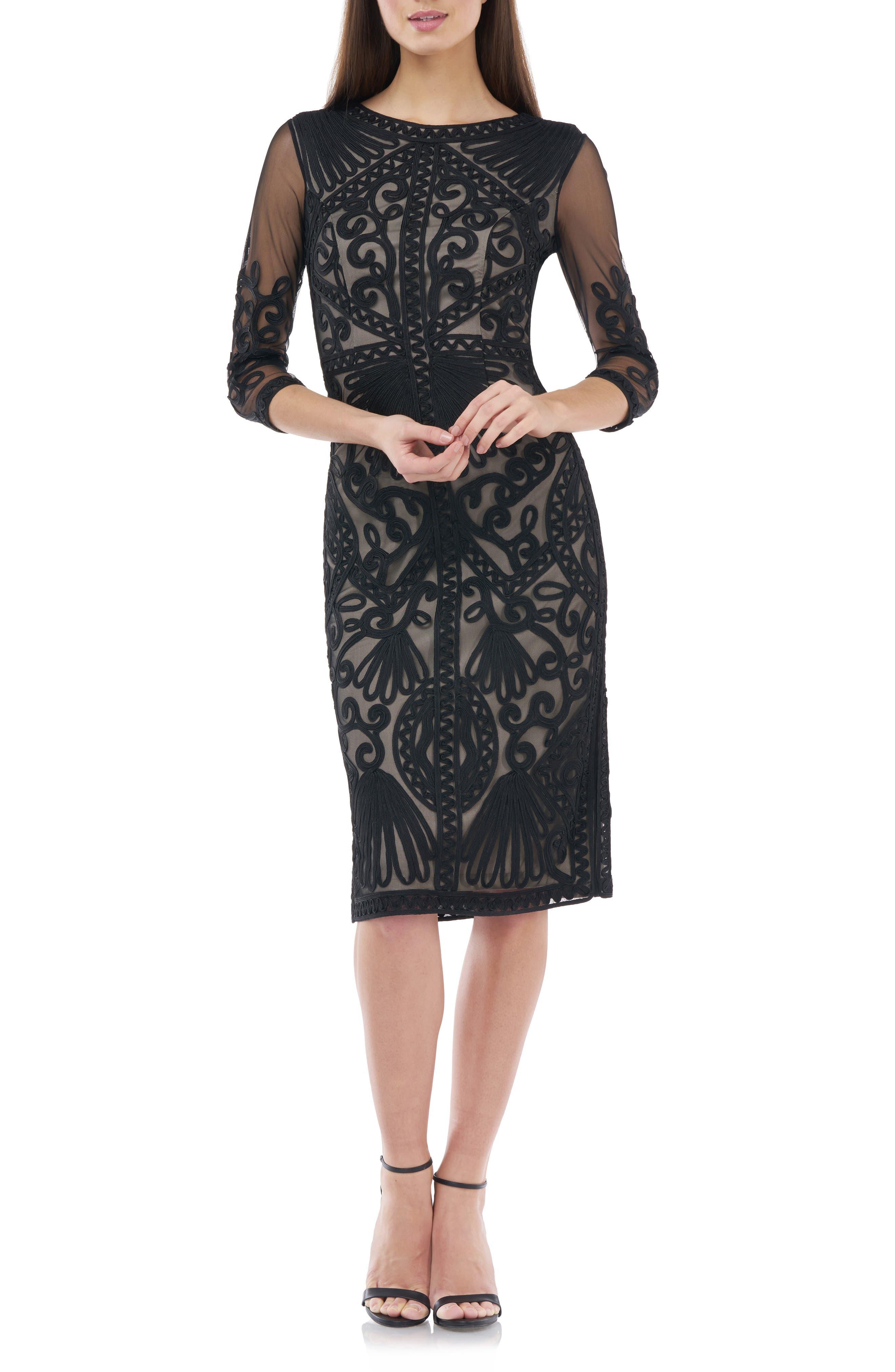 JS Collections Sheer Sleeve Soutache Sheath Dress