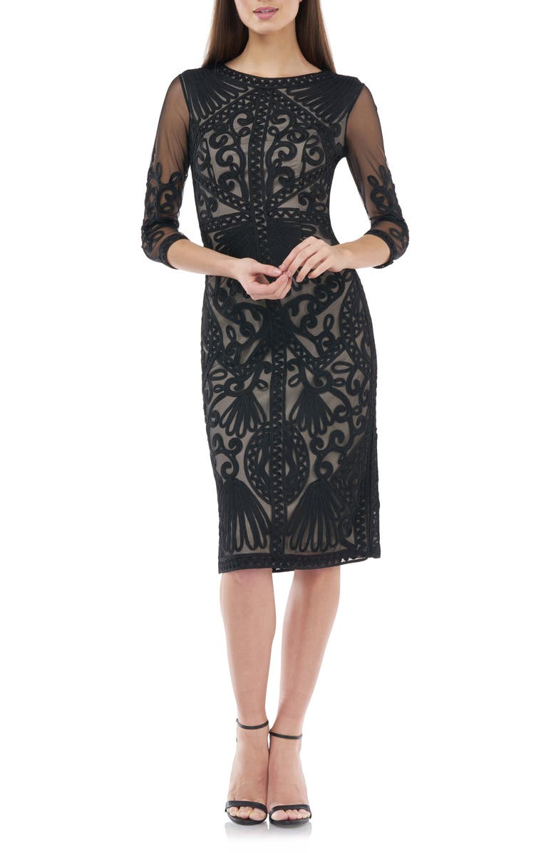 JS COLLECTIONS Sheer Sleeve Soutache Sheath Dress, Main, color, BLACK NUDE