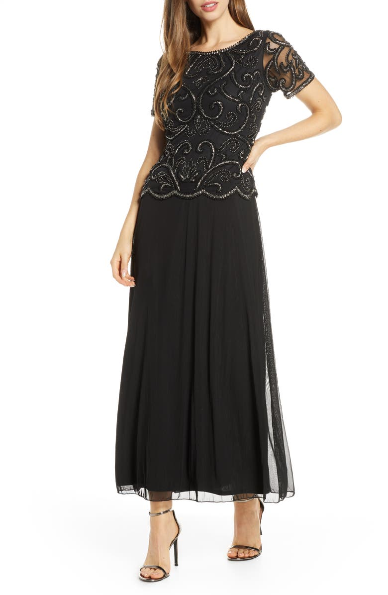 PISARRO NIGHTS Beaded Mock Two-Piece Dress, Main, color, BLACK