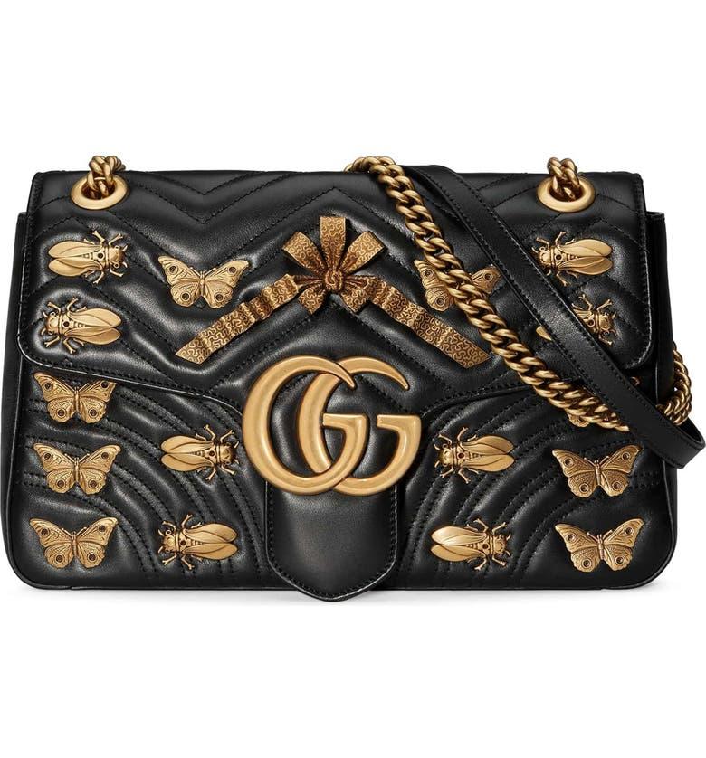 d49590f8b Medium GG Marmont 2.0 Animal Stud Matelassé Leather Shoulder Bag, Main,  color, 001