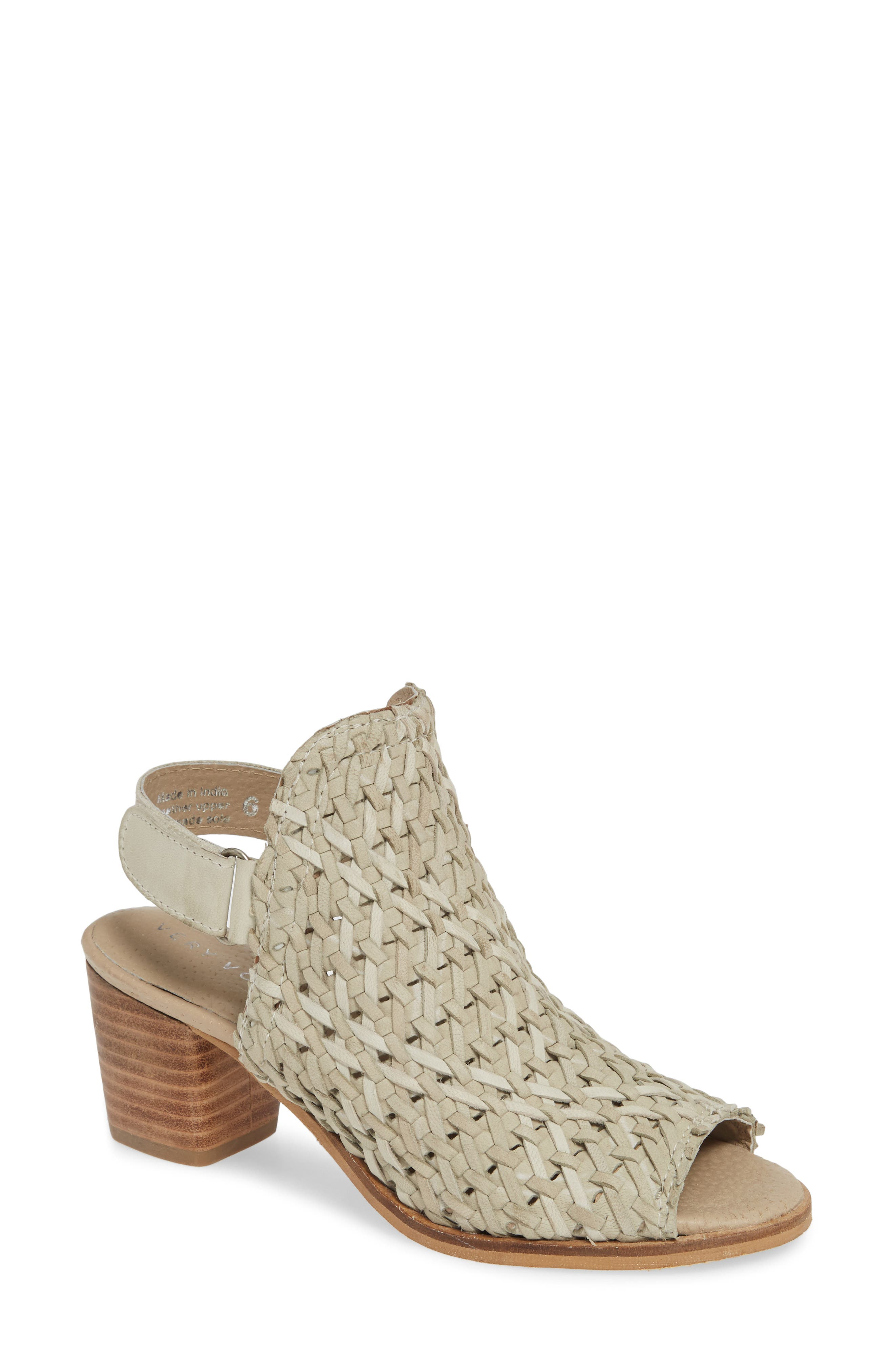 Veronique Woven Slingback Sandal, Main, color, STONE LEATHER