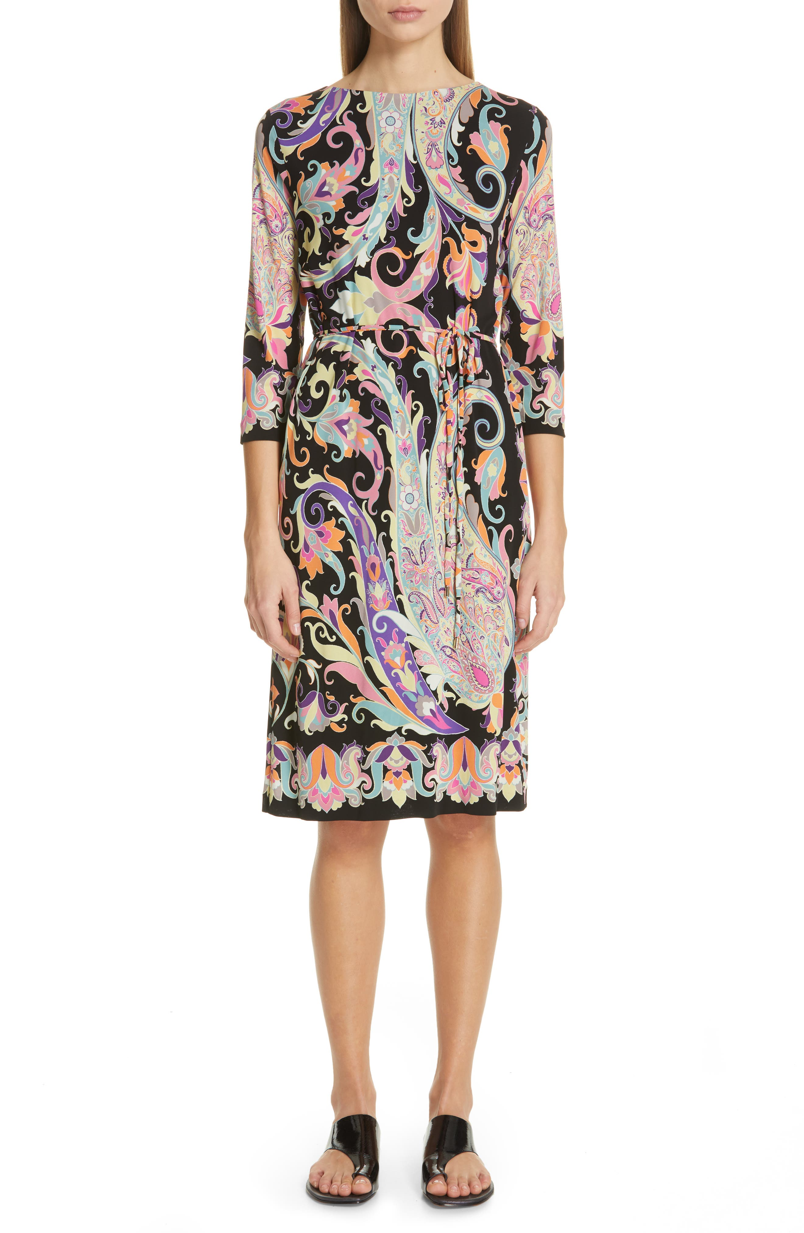 1960s – 70s Cocktail, Party, Prom, Evening Dresses Womens Etro Swirl Print Jersey Dress Size 6 US  42 IT - Black $328.49 AT vintagedancer.com