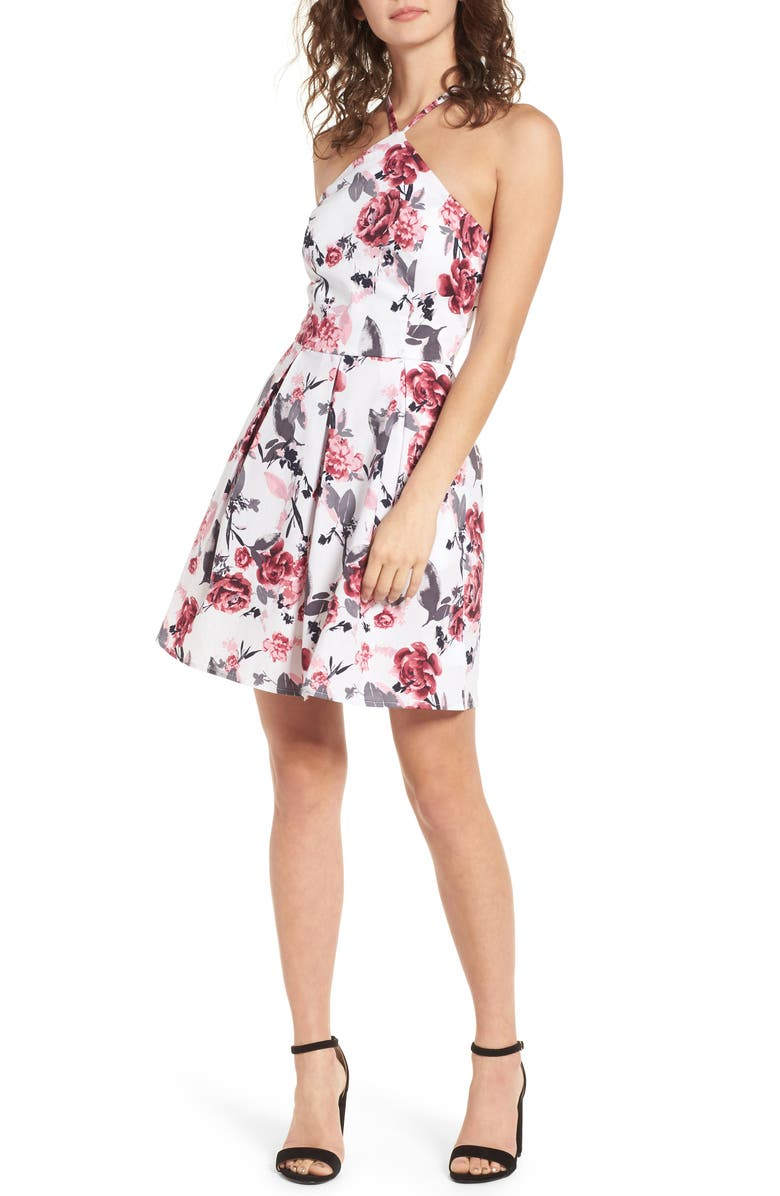 SPEECHLESS Halter Fit & Flare Dress, Main, color, 001