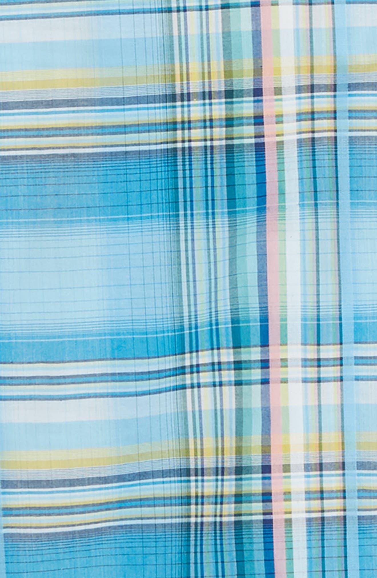 ,                             Palau Classic Fit Plaid Sport Shirt,                             Alternate thumbnail 6, color,                             BEACH HUT BLUE