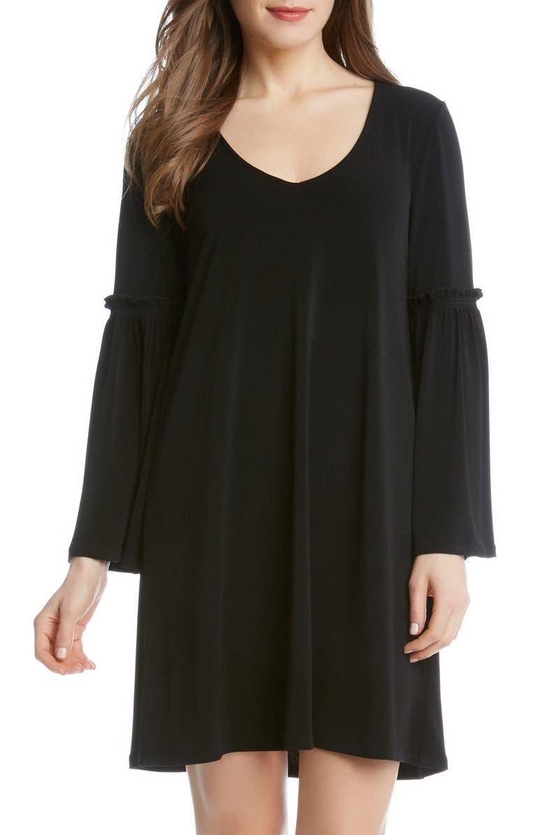 KAREN KANE Bell Sleeve A-Line Dress, Main, color, 001