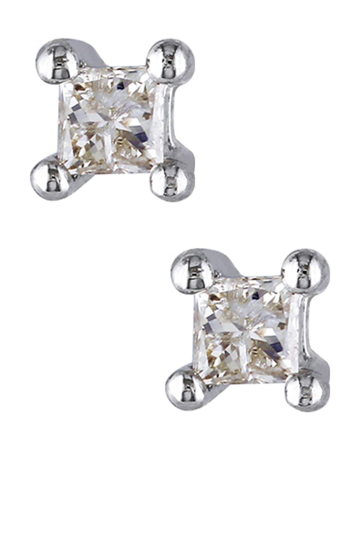 Image of Delmar Sterling Silver Princess Cut Diamond Stud Earrings - 0.10 ctw